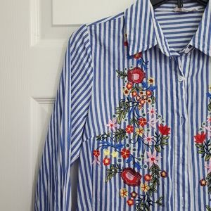 3/$10 Blue and White Embroidered Button Down Top